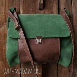 zielone na ramię zamsz torba włóczykija a4 zieleń/brąz