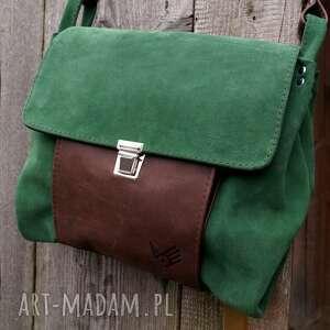 zieleń na ramię torba włóczykija a4 zieleń/brąz
