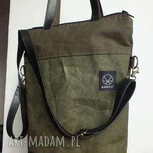 zielone na ramię solidna torba na double canvas khaki