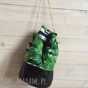 trendy na ramię worek torba liście