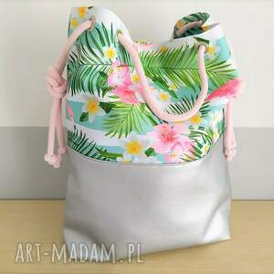 na ramię torba prosta damska worek we wzór flamingi