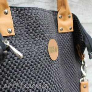 trendy na ramię worek torba plecionka czarna #