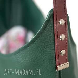 torba worek zieleń z bordo