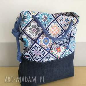 ręcznie zrobione na ramię torba worek wzór portugalski