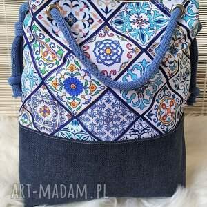 ręcznie zrobione na ramię torebka torba worek wzór portugalski