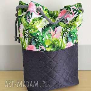hand made na ramię torba worek we flamingi