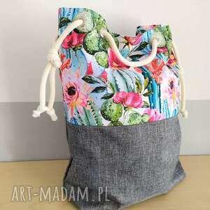 na ramię torba worek w kaktusy