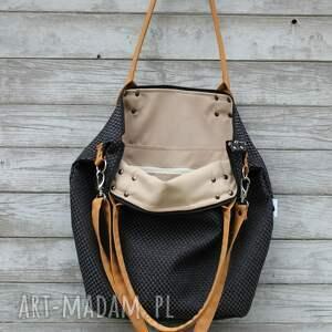 beż na ramię torba worek plecionka czarna #