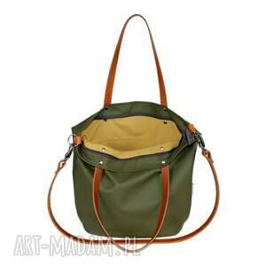 zielone na ramię torba damska worek ciemna oliwka