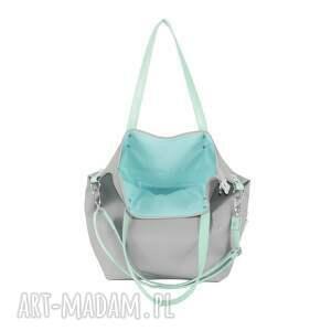 ekoskóra na ramię torba worek waterproof mint grey
