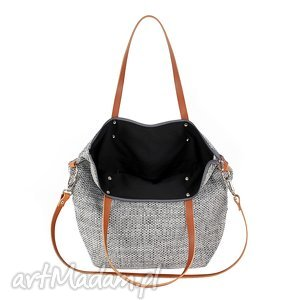 ręcznie wykonane na ramię mana-mana torba worek grey #carmel