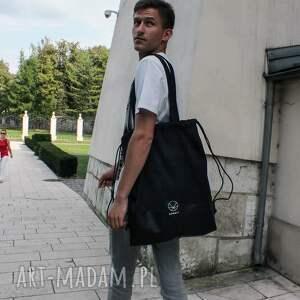 niekonwencjonalne na ramię torba plecak worek czarny 2w1