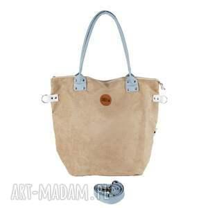 na-zakupy na ramię torba worek beige #lightblue2