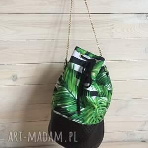 worek na ramię zielone torba liście