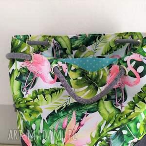 torebka na ramię torba worek we flamingi