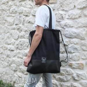 na ramię torba plecak worek czarny 2w1