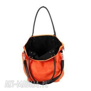 torbadamska na ramię torba worek eko-zamsz rudy