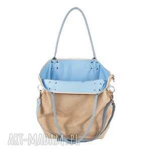 zakupy na ramię torba worek beige szaro błękitny