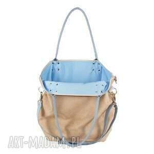 beżowe na ramię wygodna torba worek beige #lightblue2