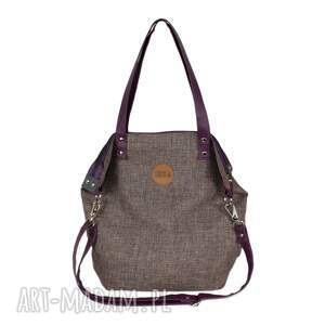 szare na ramię pojemna torba worek z nutką śliwki