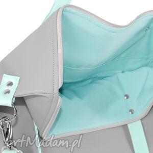 eleganckie na ramię ekoskóra torba worek waterproof mint grey