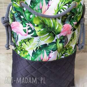na ramię torebka torba worek we flamingi