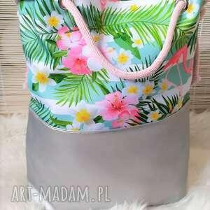 na ramię torebka torba worek flamingi