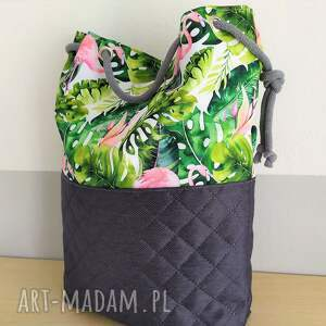 na ramię prosta damska torba worek we wzór flamingi