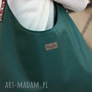 Musslico na ramię: Torba worek zieleń z bordo - na ramie torebka