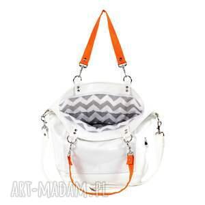 hand-made na ramię torebka-worek torba worek biała pomarańczowa