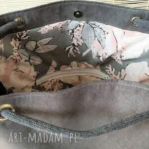 worek na ramię torba szara nubuk z brelokiem