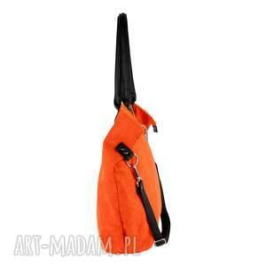 ręcznie wykonane na ramię torebka torba worek eko-zamsz rudy