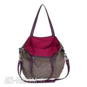 torba-worek na ramię brązowe torba worek z nutką śliwki
