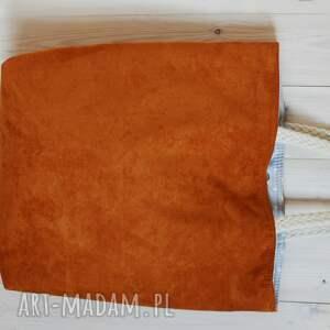 torba na ramię pomarańczowe z eco zamszu