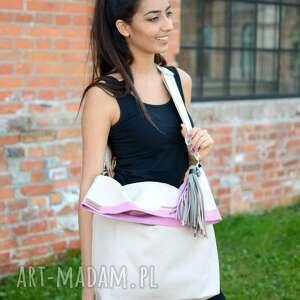 Ekoszale na ramię: torba z grubego płótna jasny beż, z zawieszką - Ręcznie