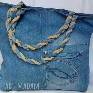 trendy na ramię torba z jeansu z kotwicą
