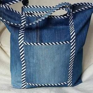 ręcznie robione na ramię torba z jeansu wykończona