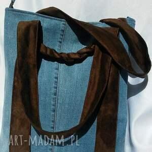 unikatowe na ramię torba z jeansu z brązowymi