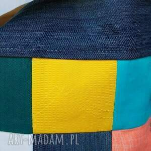 niebieskie na ramię duża torba z jeansu. kolorowa