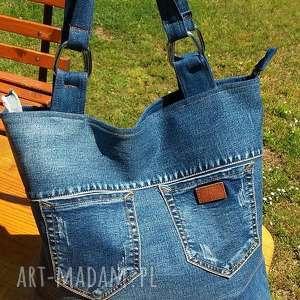 ręcznie wykonane na ramię ekotorba torba z jeansu z kieszonkami