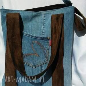 niebieskie torba z jeansu z brązowymi