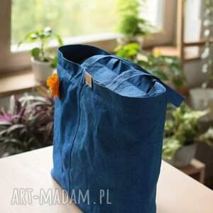 na ramię papier torba z washpapy chabrowa z zamkiem