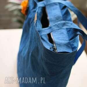 papier na ramię torba z washpapy chabrowa z zamkiem