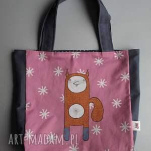ręcznie wykonane na ramię torba xxl z wiewiórką klarą -