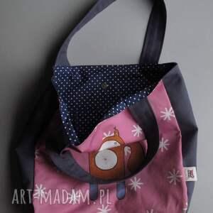 różowe na ramię shopperka torba xxl z wiewiórką klarą -