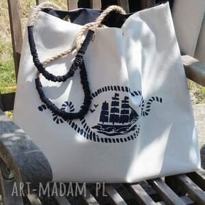 torebka na ramię torba z żaglowcem