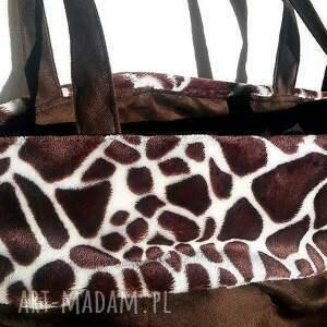 brązowe na ramię torba żyrafa