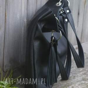 skórzana na ramię torbiszcze czarne z wkładem