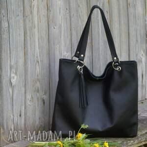 eleganckie na ramię skórzana torbiszcze czarne z wkładem