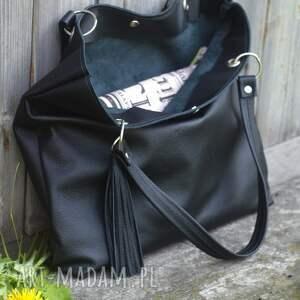 na ramię skórzana torbiszcze czarne z wkładem